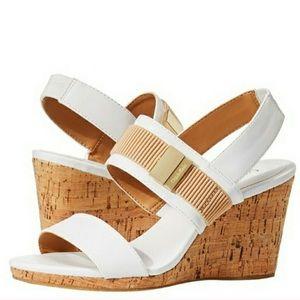 Calvin Klein Brandie White Cork Wedge Sandal 10